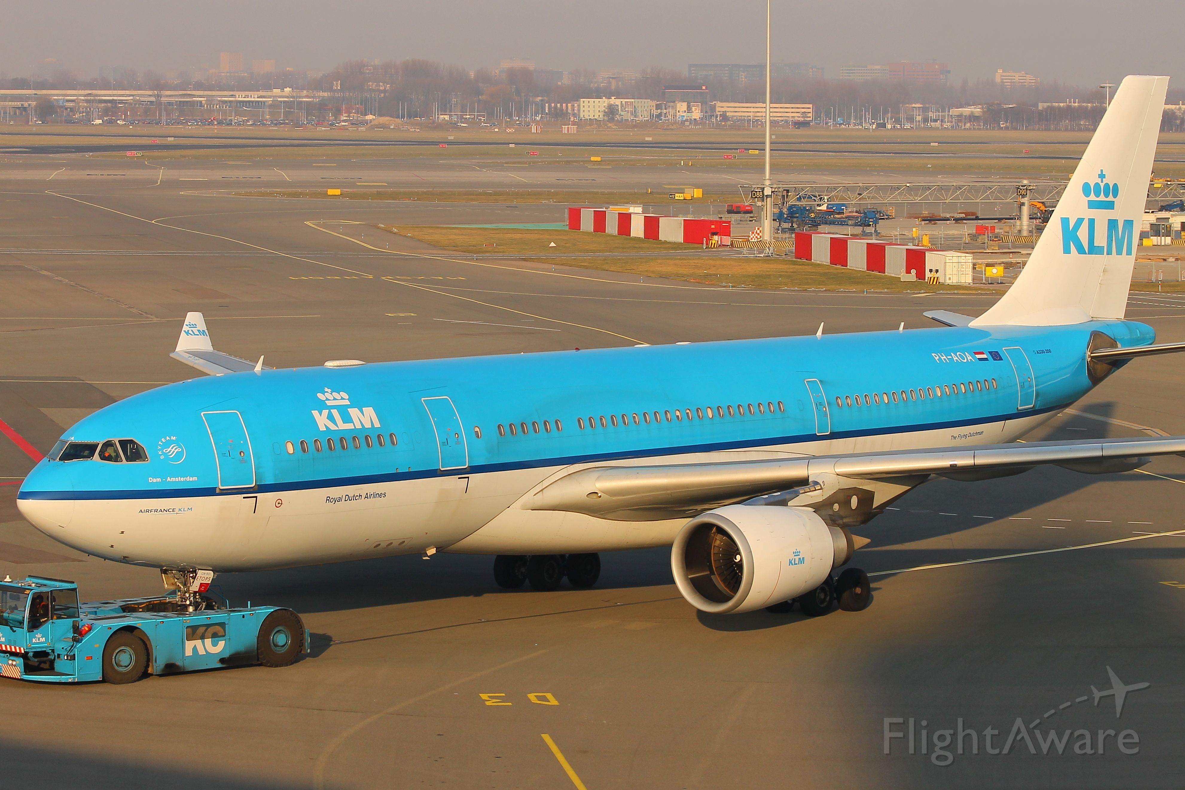 Airbus A330-200 (PH-AOA) - PH-AOA KLM Airbus A330-200 being towed to its gate at Amsterdam Schiphol at 16:22 on Sunday 18/02/18 ahead of doing flight KL575 to Luanda, Angola at 23:00 hours