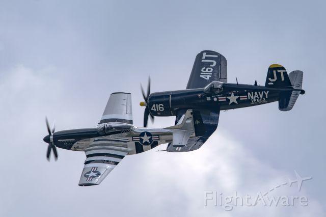 — — - P-51 and F4U-4 at Toledo Air Show