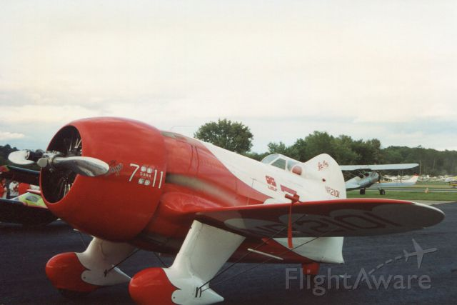 HISTORICAL AIRCRAFT PZL P-11C (PIR2101) - SUSSEX AIRPORT-SUSSEX, NEW JERSEY, USA-AUGUST 1992: Seen on static display at the annual Sussex Airshow is a reproduction model of the Gee Bee R-2 Super Sportster racer.