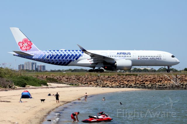 Airbus A350-900 (B-18918) - Taxiing past The Beach to Rwy 34L