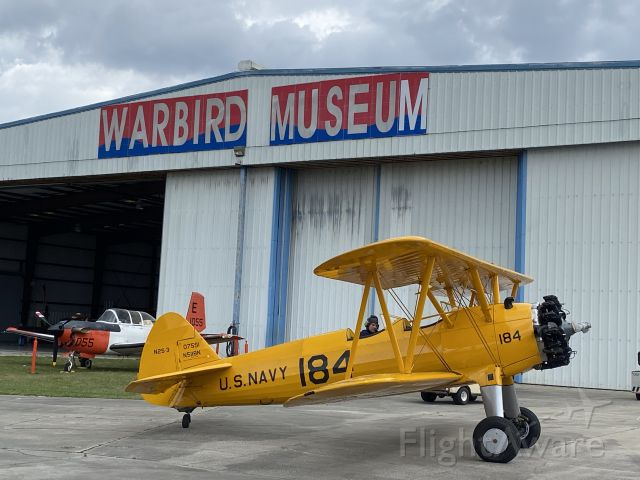N5118N — - Stearman N2S-3 engine test at Valiant Air Command Warbird Museum on 16 April 2021 before Cocoa Beach Air Show on 17-18 April 2021.