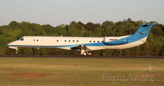 Embraer ERJ-145 (N46VA) - An Embraer ERJ-145LR on its takeoff roll at Boswell Field, Talladega Municipal Airport, AL, following the NASCAR GEICO 500 race at Talladega Super Speedway - late afternoon, April 25, 2021.