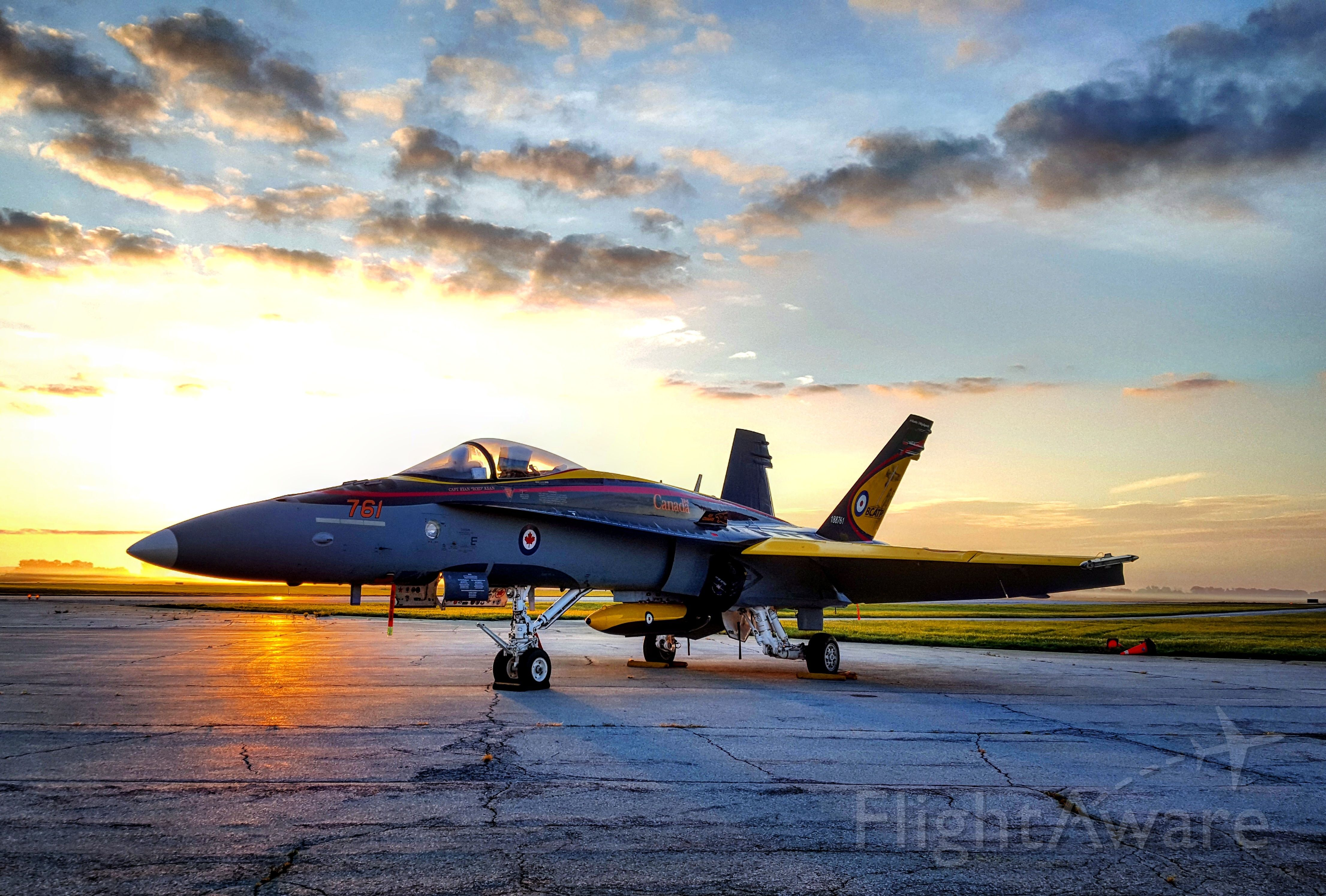 — — - 2016 CF-18 Hornet demo jet at sunrise - London Ontario Canada