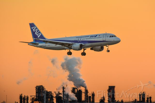 Airbus A320 (JA8946) - Rwy 34L,Haneda,Tokyo at the time of evening.