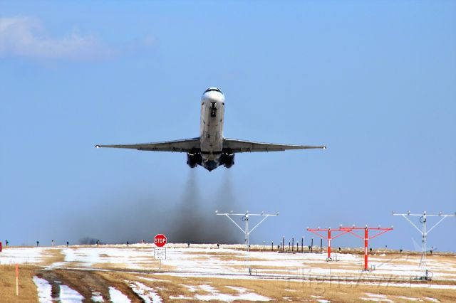 McDonnell Douglas MD-83 (N407NV) - Thrusting Off to Las Vegas from sunny...but cold...Appleton International.