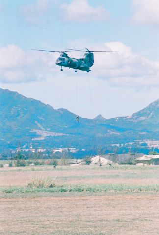 — — - A CH-46 near Schofield Barracks, Hawaii