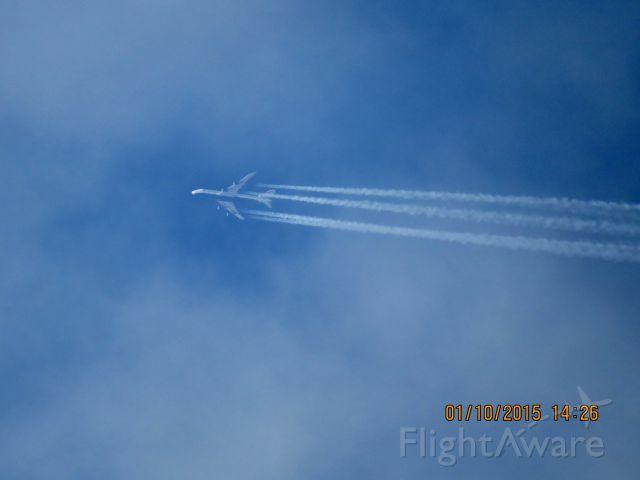 Boeing 747-400 (G-CIVY) - British Airways flight 31F from LHR to DFW over Southeastern Kansas at 38,000 feet.
