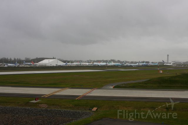 KPAE — - Boeing Flight line at Paine Field.  How many planes can you count.