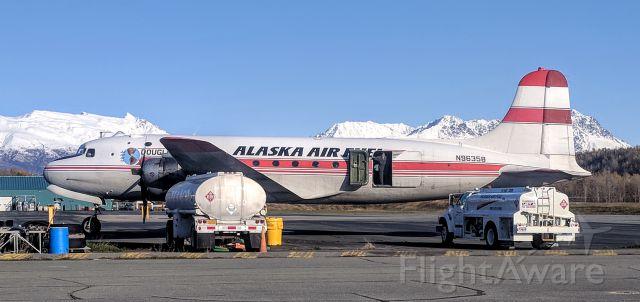 Douglas C-54 Skymaster (N96358) - Alaska Air Fuel terminal, Palmer Municipal Airport, AK
