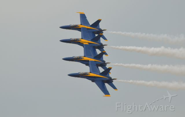 McDonnell Douglas FA-18 Hornet — - US Navy Blue Angels 4-plane element preforming a tight 4 plane left turn at Power on the Prairie Airshow in Sioux Falls SD - 7-21-2012