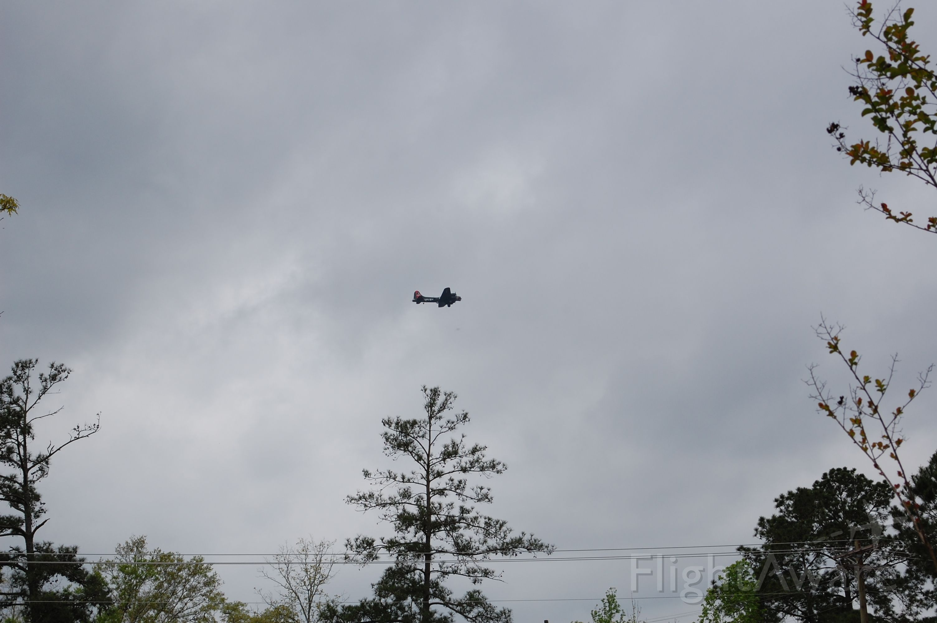 — — - <br>B17 flying around kcxo, I will try to go to airport to get a better pic
