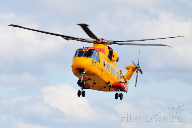 """WESTLAND Merlin (14-9901) - CH-149 Cormorant 901 """"Outcast"""" coming in for a landing on the ramp at CFB Gander, Newfoundland on May 12, 2015.  It is one of 14 Cormorants stationed at 3 SAR bases in Canada. Number 914 crashed off Nova Scotia during training in 2006."""