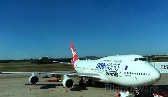 Boeing 747-400 (VH-OEF) - Qantas VH-OEF 747-400 at gate.  August 21, 2016 in Brisbane, Queensland, Australia.