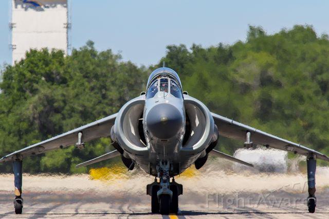 Boeing Harrier (N94422) - Harrier jump jet throttling up for a vertical departure.