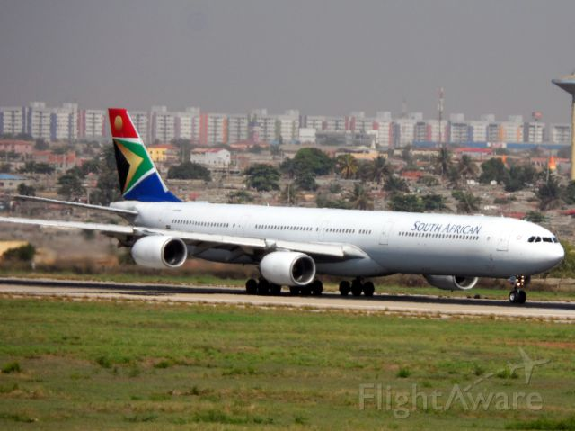 Airbus A340-600 (ZS-SNF) - SAA055 DEPARTING FROM LUANDA TO JOANNESBURG