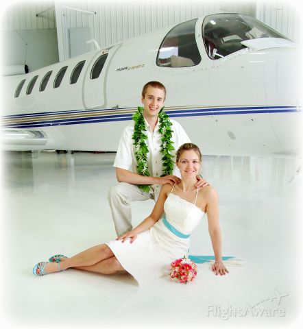 Cessna Citation II (N53FP) - Wedding photo in front of a Citation II.