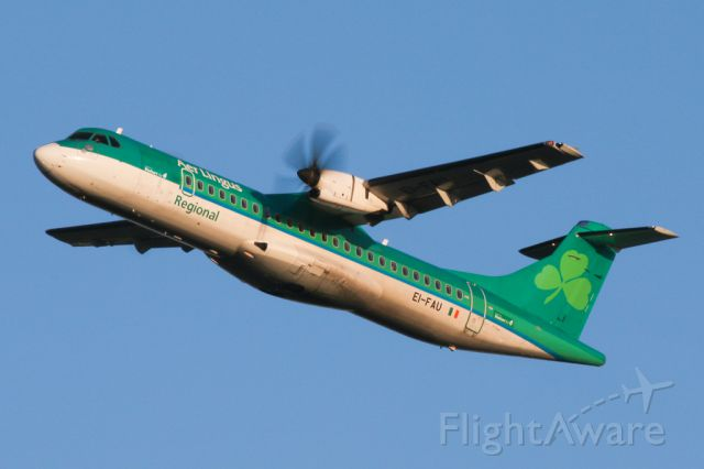 Aerospatiale ATR-72-600 (EI-FAU) - EIN3721 departing to Cork and looking to be in need of a bit of a wash.