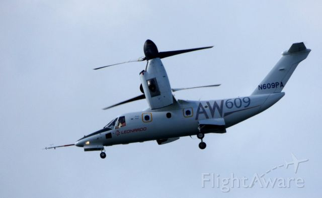 Bell BA-609 (N609PA) - Shown here is an AgustaWestland Twin Turbo-Prop AW609 approaching the Leonardo Helo facility in the Autumn of 2018.