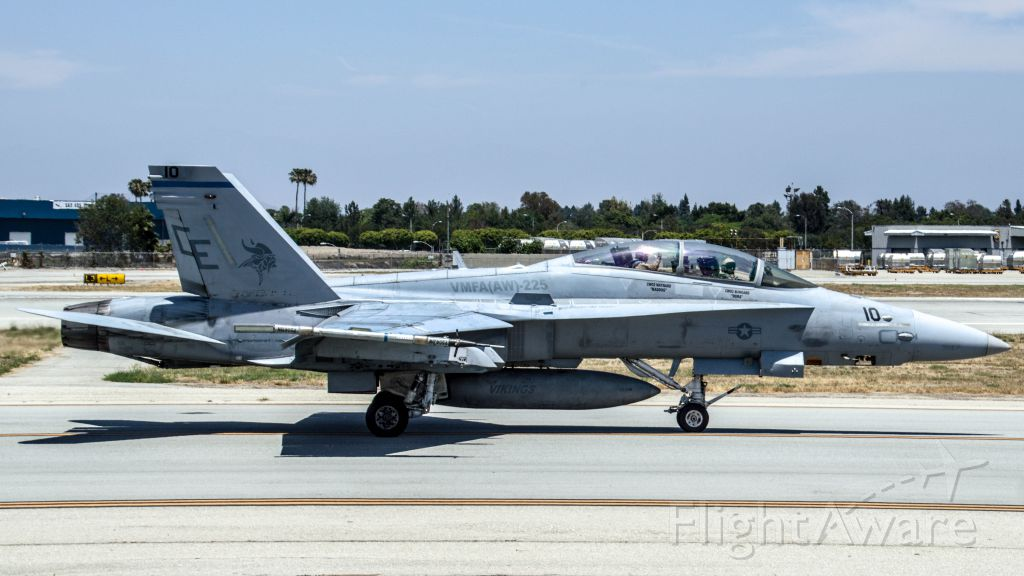 McDonnell Douglas FA-18 Hornet — - A Marine F-18D of VMFA(AW)-225 taxis past as it readies to depart for MCAS Miramar