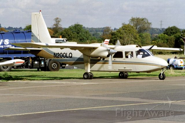 ROMAERO Turbine Islander (N200LQ) - Seen here in Oct-02.  Reregistered N121MT then exported to Papua New Guinea 10-Jun-11 where it became P2-SBB.
