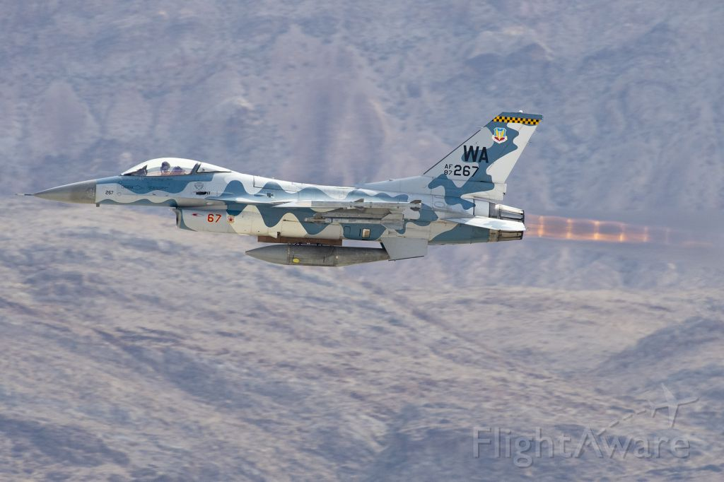 Lockheed F-16 Fighting Falcon (N267) - USAF F-16C belonging to 64th Aggressor Squadron taking off during a flight demonstration at Nellis Air Force Base during Aviation Nation 2019.