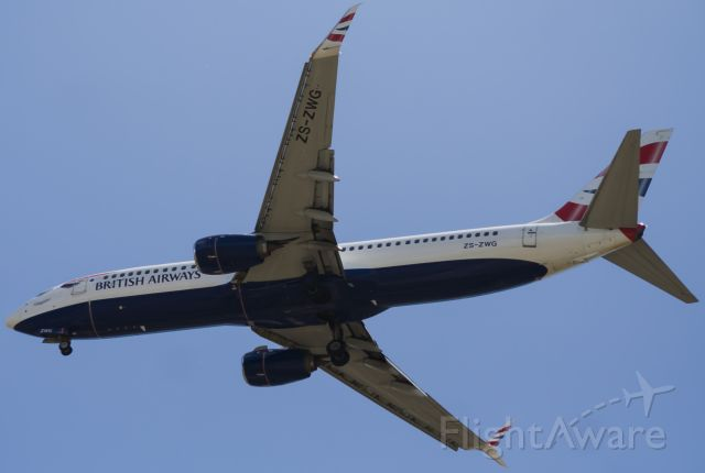 Boeing 737-800 (ZS-ZWG) - Checking out a new spotter location, BA6241 about to land RWY 26 PLZ