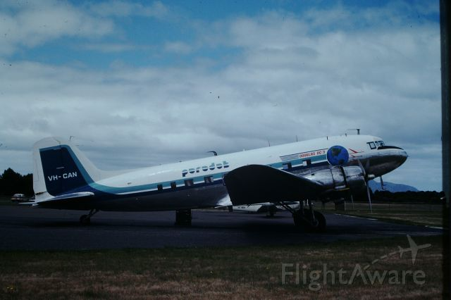 Douglas DC-3 (VH-CAN) - Ex DCA DC3 VH-CAN operated by Paradak at Flinders Island, circa 1978. Paradak operated both passenger and freight charters.