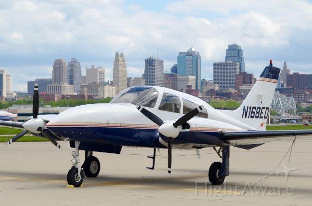 Cessna 310 (N168ED) - On the ramp at downtown Kansas City, April 14, 2016