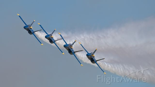 — — - Blue Angels performing at the EAA in Oshkosh, WI