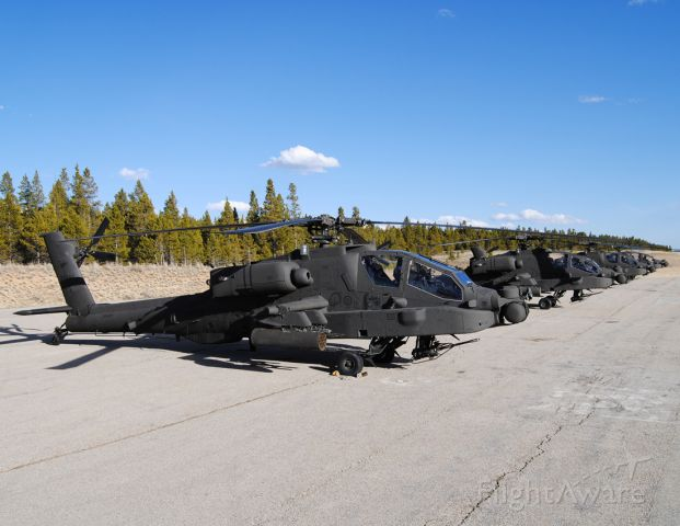 — — - Four little Indians visit Leadville.  A flight of four Apaches came up for some high altitude flight training from Ft. Carson in Colorado Springs.