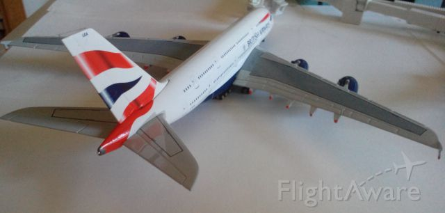 Airbus A380-800 (G-XLEA) - Another pic of my BA A380. Shes getting pulled in to her gate from Heathrow. This is my favorite model, if you are thinking of buying it, think no longer. BUY!