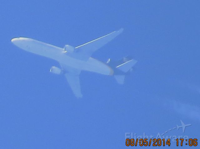 Boeing MD-11 (N257UP) - UPS flight 2964 from SDF to ONT over Southeastern KS (78KS) at 38k feet.