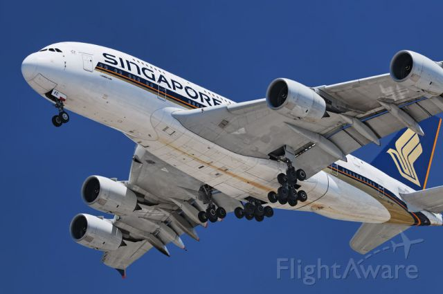 9V-SKC — - A Singapore Airlines operated Airbus A380-841 super jumbo on final approach to the Los Angeles International Airport in Westchester, Los Angeles, California
