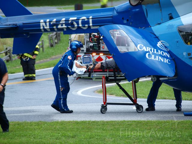 KAWASAKI EC-145 (N145CL) - Accident took place on the Blueridge Parkway in Virginia . They had to fly in two Life Guard helos to move the injured folks
