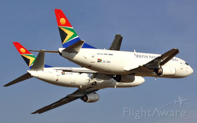BOEING 737-300 (ZS-SBA) - Two SAA Boeing 737-300s in close formation