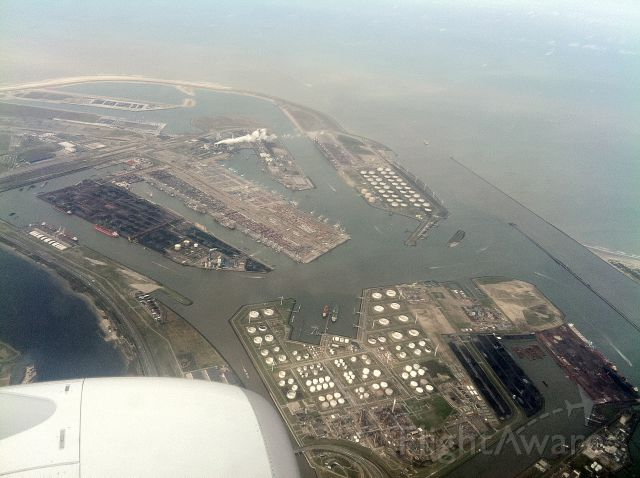 Boeing 737-700 — - Over the Port of Rotterdam