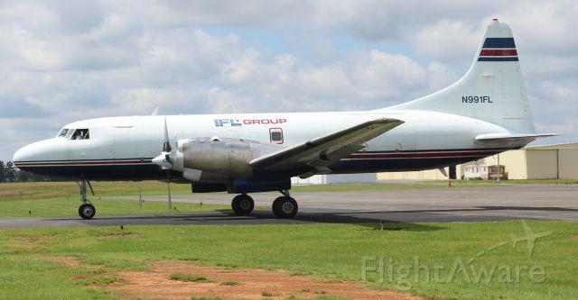 CONVAIR CV-580 (N991FL) - An IFL Group Convair 580 taxiing from the ramp at Boswell Field, Talladega Municipal Airport, AL - August 16, 2017.