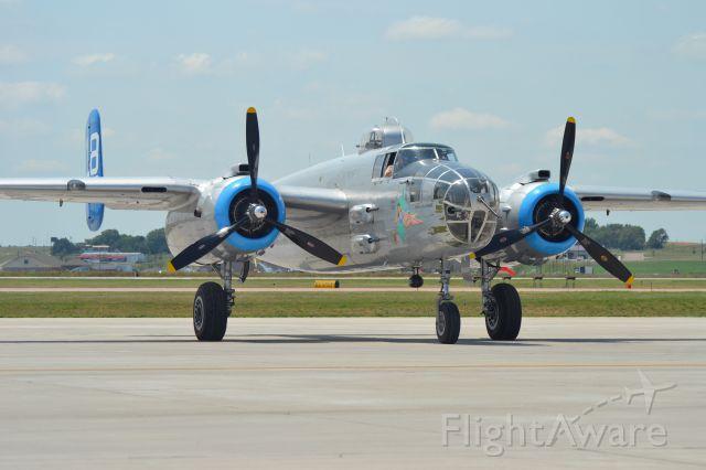 N125AZ — - North American B-25J preparing to depart KFSD - 6-25-2012