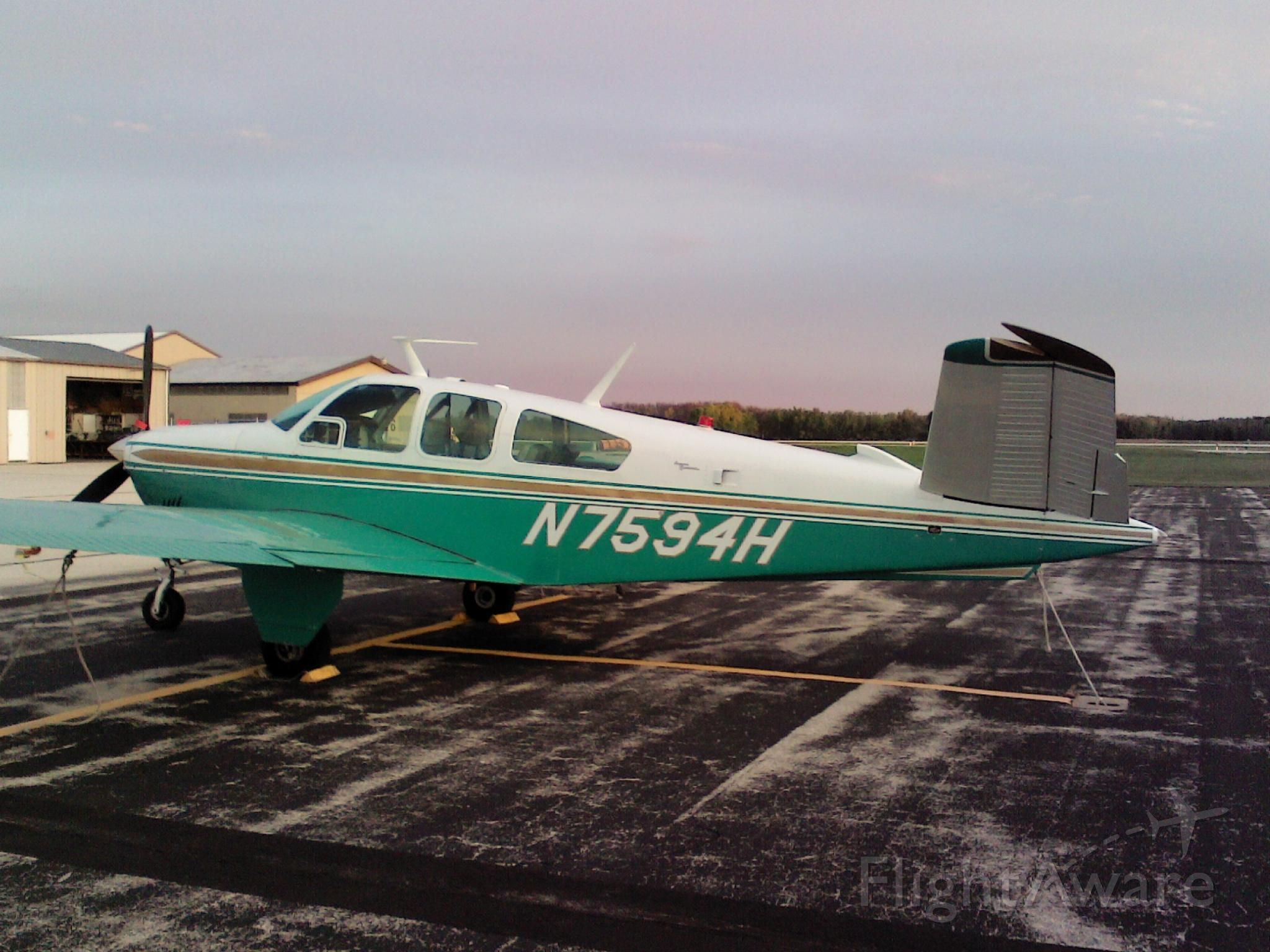 Beechcraft 35 Bonanza (N7594H) - In the early morning at KSUE ... Sturgeon Bay, Wisconsin was this lovely Beach.
