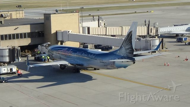 """Boeing 737-800 (N559AS) - Now this is what I call """"the catch of the day""""! """"Salmon-Thirty-Salmon"""" payed a visit to Omaha yesterday. Date - Nov 7, 2020       You can check this plane out in my new episode on my YouTube channel, """"Brennan's Flight Factor""""."""