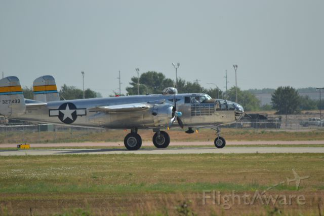 "N27483 — - North American B-25J ""Miss Mitchell"" taking off from KFSD - 7-17-2012"