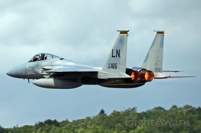 — — - RAF Lakenheath-based Eagle departing RAF Fairford.