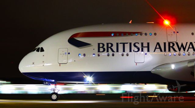 Airbus A380-800 (G-XLEL) - British Airways Airbus A380-841 G-XLEL taxis on Mike after arrival at YVR 08L from LHR. Pan shot with beacon / lens flare
