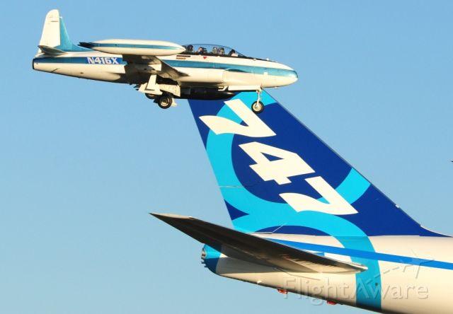 Boeing 747-200 (N747EX) - Uploaded By User Moonm  Boeing 747-8 & 1954 Canadair T33