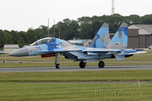 Sukhoi Su-27 Flanker — - [cn.96310418207]. Ukraine Air Force Sukhoi Su-27UB 75 Blue from 831st vabr Squadron here at RAF Fairford.