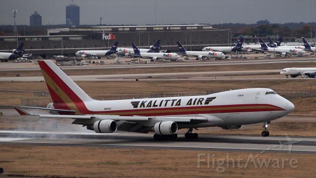 Boeing 747-400 (N402KZ) - Touchdown on 18C.