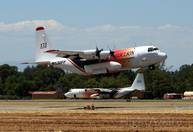Lockheed C-130 Hercules (N130FF) - KRDD - Coulson Air Tanker 131 departing Redding for a fire on I-5 south of Dunsmuir, CA 7-25-2017.