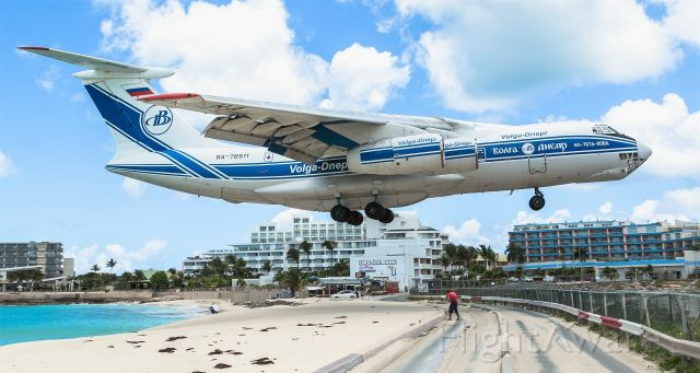Ilyushin Il-76 (RA-76511) - Russian heavy metal Volga-Dnepr registration RA-76511 flying as VDA3196 over maho beach for landing at St Maarten while bring in some medical supplies in support of the COVID-19 from Holland on the 3rd flight!!<br />21/04/2020