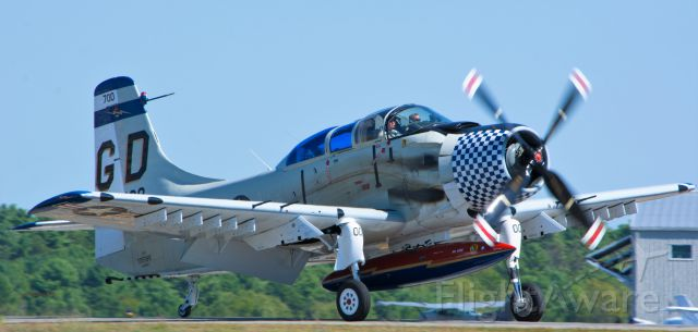 Douglas AD Skyraider (NX188RH) - Skyraider rolls out after landing