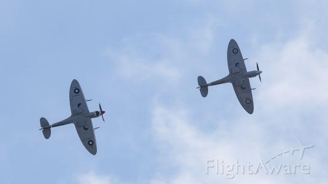 SUPERMARINE Spitfire (VH-HET) - Grey Nurse Mk VIII chasing Mk XVI across the skies over Tyabb airshow 2016